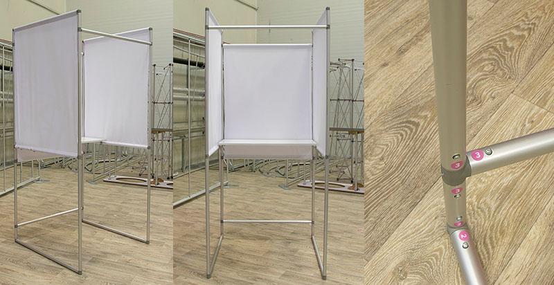 Balsavimo kabina iš aliuminio vamzdelių rinkimams.